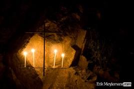Candle lit cross