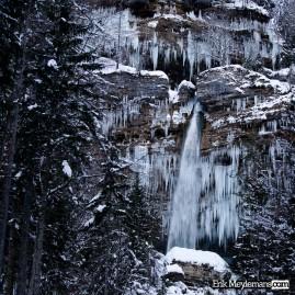 Frozen Peričnik waterfalls